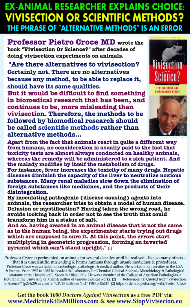 Quotes Memes Anti Vivisection Medical Scientists Doctors Drs Explain Debunk Refute Against Alternative Medical Animal Research Methods Experiments Experimentation Animals Not Scientific Science Exposed Debunked Prof Pietro Croce Wrong Why Bad Fraud